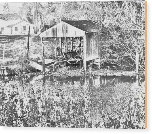 03192015 Boat Shed Lafourch Parish Wood Print