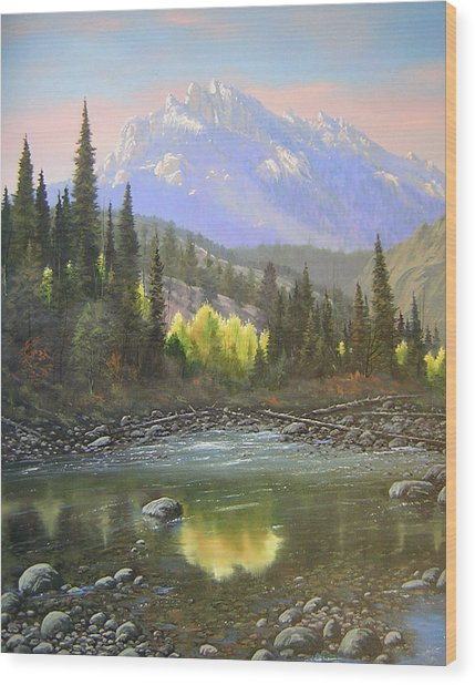 060409-2430  Long Scraggy Mountain - Reflections   Wood Print by Kenneth Shanika