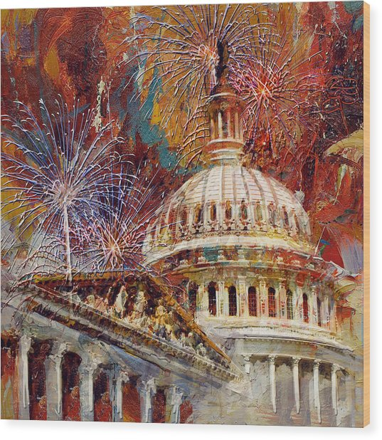 070 United States Capitol Building - Us Independence Day Celebration Fireworks Wood Print
