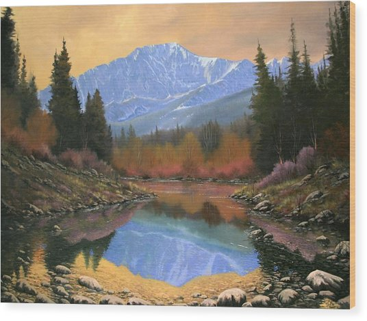 080220-4030 In All Its Glory - Pikes Peak Wood Print by Kenneth Shanika