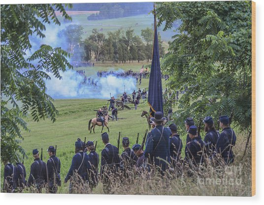 Gettysburg Union Artillery And Infantry 7457c Wood Print