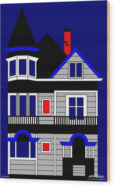 1080 Haight Street Wood Print by Asbjorn Lonvig