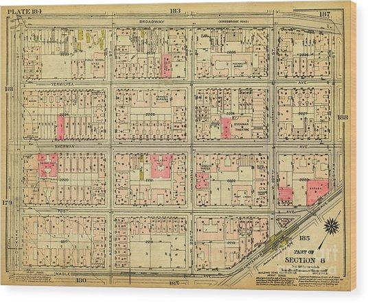 1927 Inwood Map  Wood Print