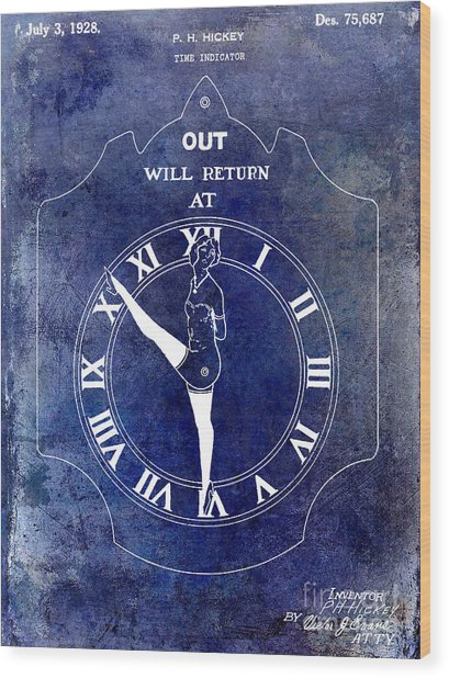 1928 Time Indicator Patent Blue Wood Print