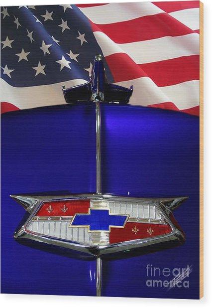 1954 Chevrolet Hood Emblem Wood Print