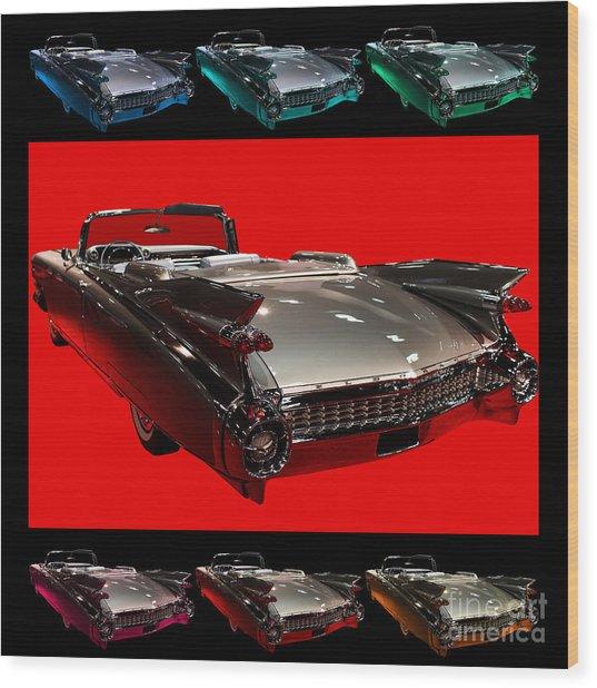 1959 Cadillac Eldorado Convertible . Wing Angle Artwork Wood Print by Wingsdomain Art and Photography