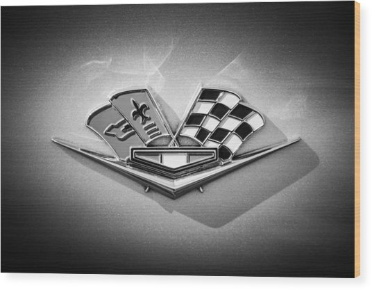 Wood Print featuring the photograph 1964 Chevrolet Corvette Sting Ray Gm Styling Coupe Side Emblem -0153c by Jill Reger