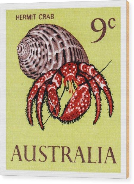 1966 Australia Hermit Crab Postage Stamp Wood Print