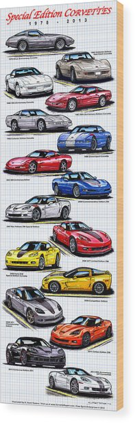 1978 - 2011 Special Edition Corvettes Wood Print