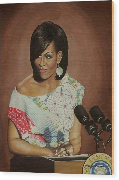 1st Lady Michelle Obama Wood Print by Henry Frison