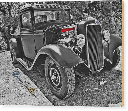 34 Ford Rat Rod Pickup Wood Print