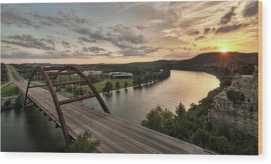 360 Bridge Sunset Wood Print
