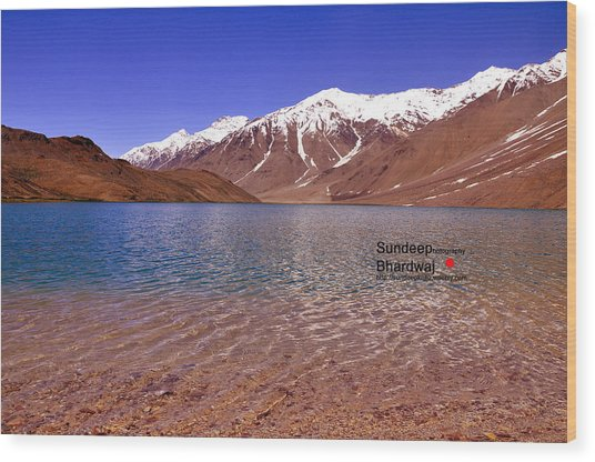 A Beautiful Lake On Himalayas Of Unforgetable Himachal In Incredible IIndia Wood Print by Sundeep Bhardwaj Kullu sundeepkulluDOTcom