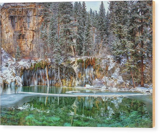 Olena Art Serene Chill Hanging Lake Photograph The Gem Of Glenwood Canyon Colorado Wood Print
