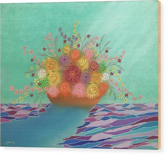 A Vase Of Flowers Iv Wood Print