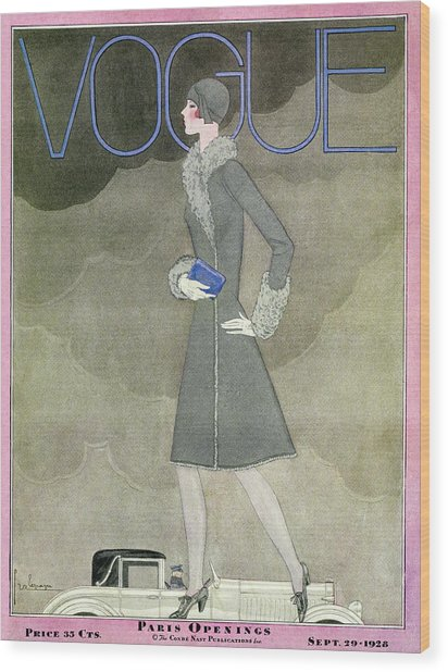 A Vintage Vogue Magazine Cover From 1928 Wood Print