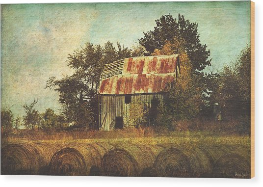 Abandoned Countryside Barn And Hay Rolls Wood Print