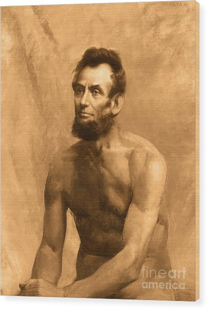 Abraham Lincoln Nude Wood Print