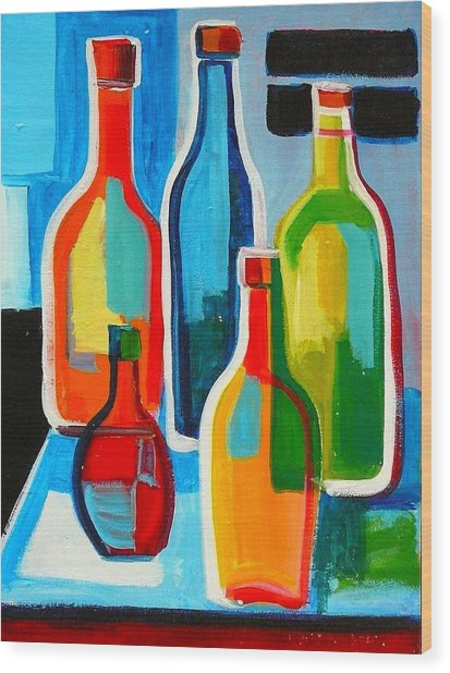 Abstract Bottles Wood Print
