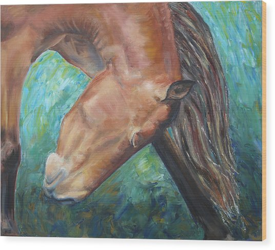 Abstract Horse One Wood Print