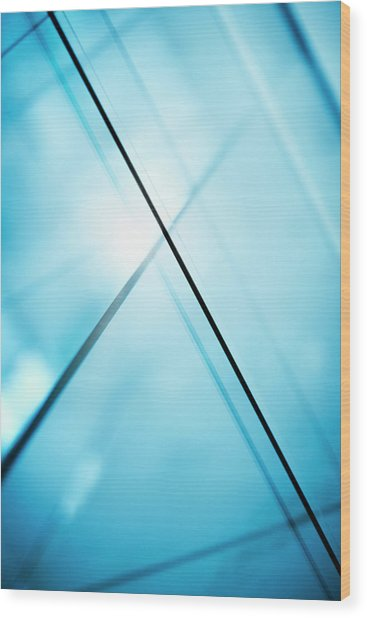Abstract Intersecting Lines On A Glass Surface Wood Print by Ralf Hiemisch