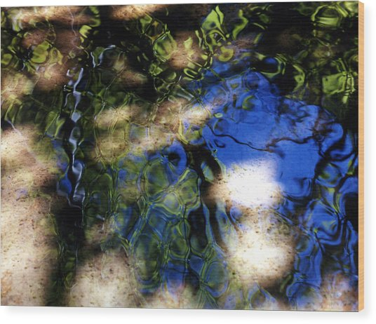 Abstract Water Blues Wood Print by Heather S Huston
