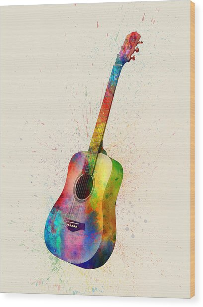 Acoustic Guitar Abstract Watercolor Wood Print