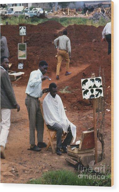African Barbershop Wood Print