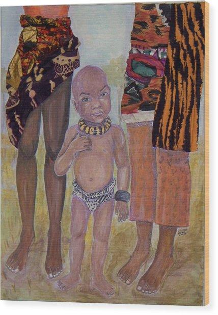 Afrik Boy Wood Print