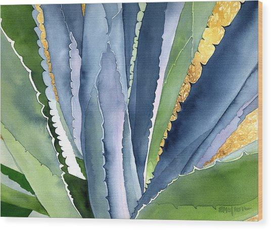Agave 2 Wood Print by Eunice Olson