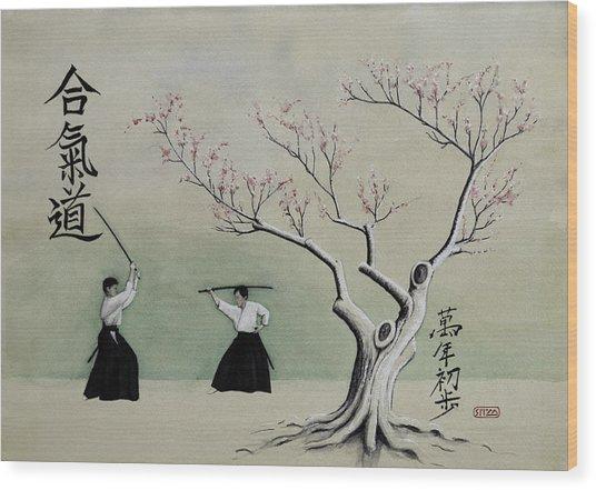 Aikido Always Beginning Wood Print by Scott Manning