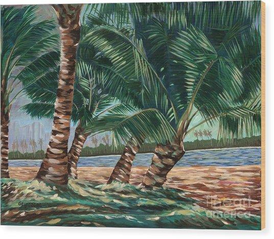 Ala Moana Beach Wood Print