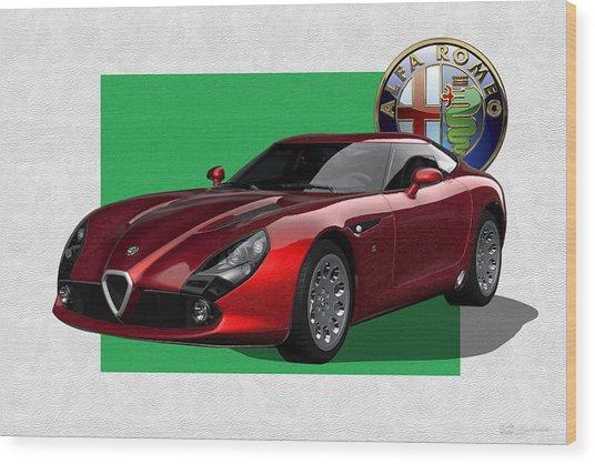 Alfa Romeo Zagato  T Z 3  Stradale With 3 D Badge  Wood Print