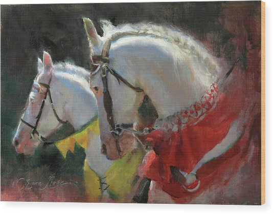 All The King's Horses Wood Print by Anna Rose Bain