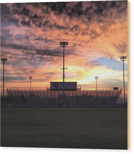 Alma High School Don Miller Field Sunrise Bleachers Wood Print