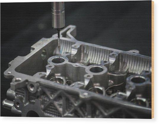 Aluminium Auto Part Inspection By Cmm Dimension Check Machine Wood Print by Anek Suwannaphoom