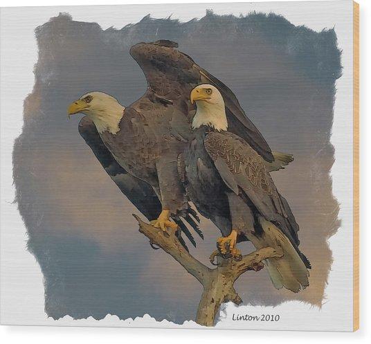 American Bald Eagle Pair Wood Print