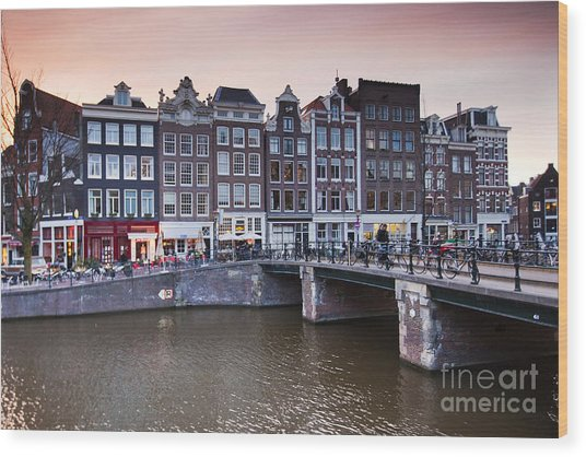 Amsterdam At Sunset Wood Print by Andre Goncalves