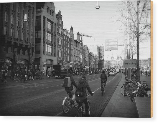 Wood Print featuring the photograph Amsterdam Traffic by Scott Hovind