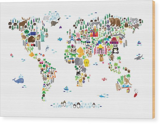 Animal Map Of The World For Children And Kids Wood Print