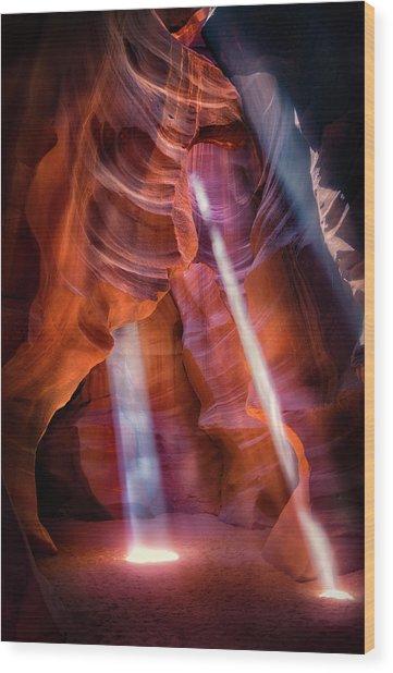 Antelope Canyon's Many Beams Wood Print