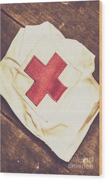 Antique Nurses Hat With Red Cross Emblem Wood Print