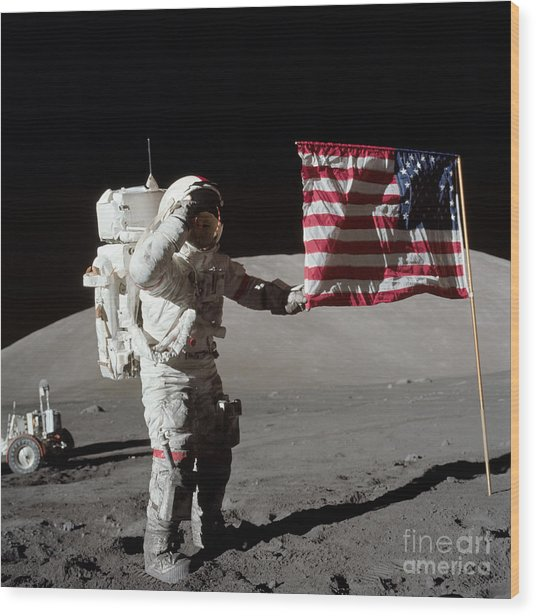 Apollo 17 Astronaut Salutes The United Wood Print