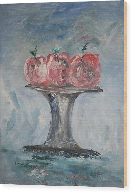Apples Wood Print by Edward Wolverton