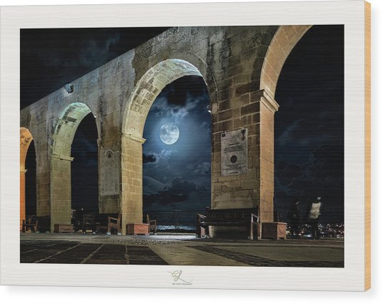 Arched Moon Wood Print