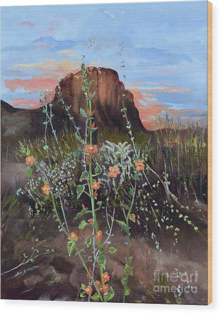 Arizona Desert Flowers-dwarf Indian Mallow Wood Print