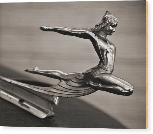 Art Deco Hood Ornament Wood Print