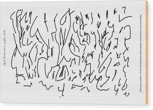 Asemic Writing 01 Wood Print