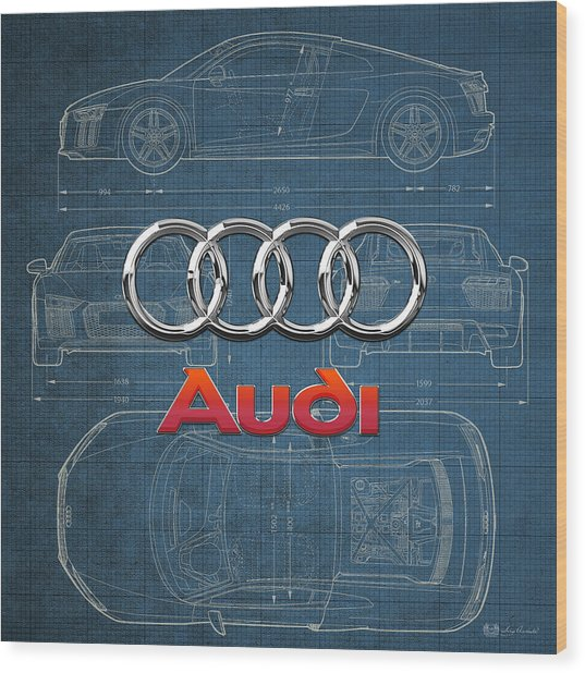 Audi 3 D Badge Over 2016 Audi R 8 Blueprint Wood Print