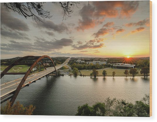 Austin Pennybacker 360 Bridge Sunset Wood Print by Preston Broadfoot